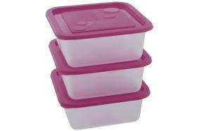 Műanyag tárolóedény szett  KUBE 0,55 l 3db lila
