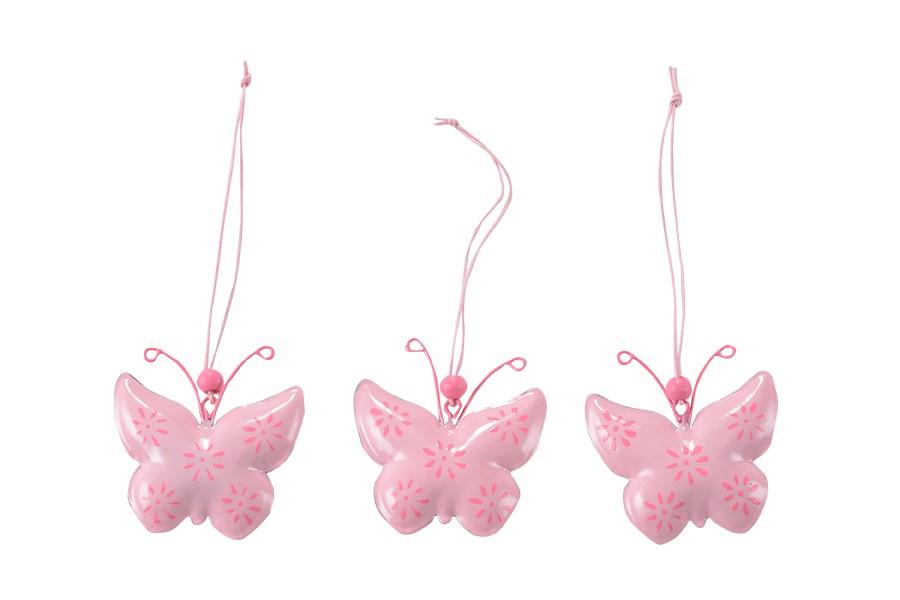 Tavaszi fém dekoráció 3 db Lepke