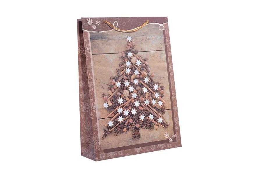Karácsonyi táska XL KARÁCSONYFA barna