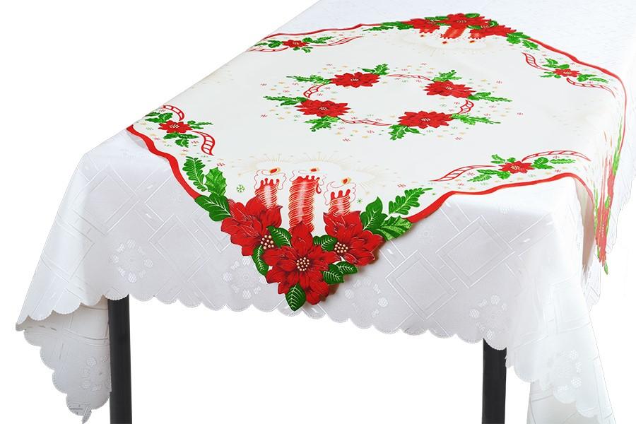 Karácsonyi terítő GYERTYÁK 85x85 cm
