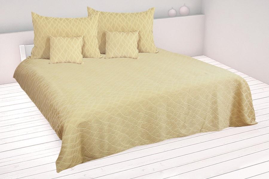 Kétszemélyes LISTRA ágytakaró 220 x 250 cm bézs