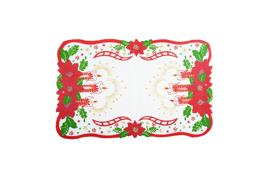 Karácsonyi terítő GYERTYÁK 28x43 cm